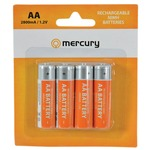 Pack of 4 AA 2800mAh NiMH rechargeable batteries.