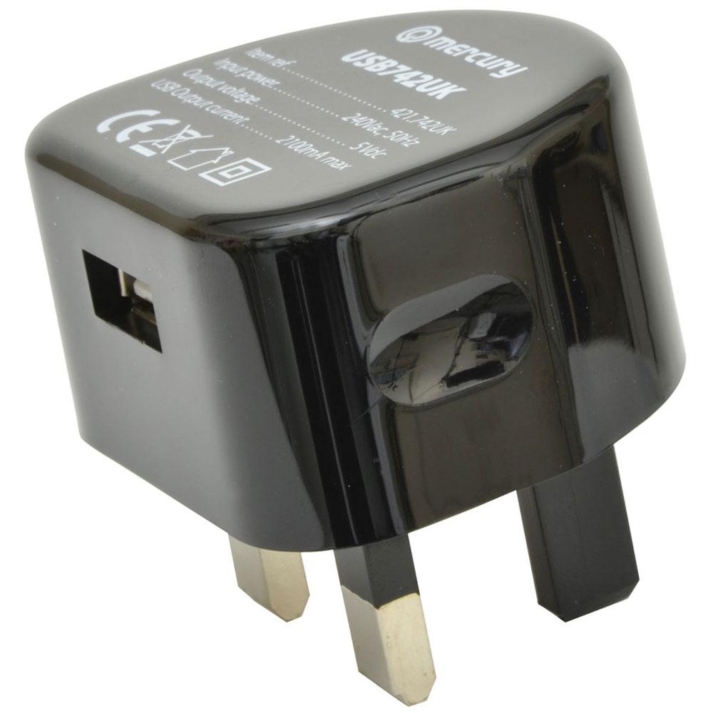 Compact UK USB Wall Charger Plug 2100mA