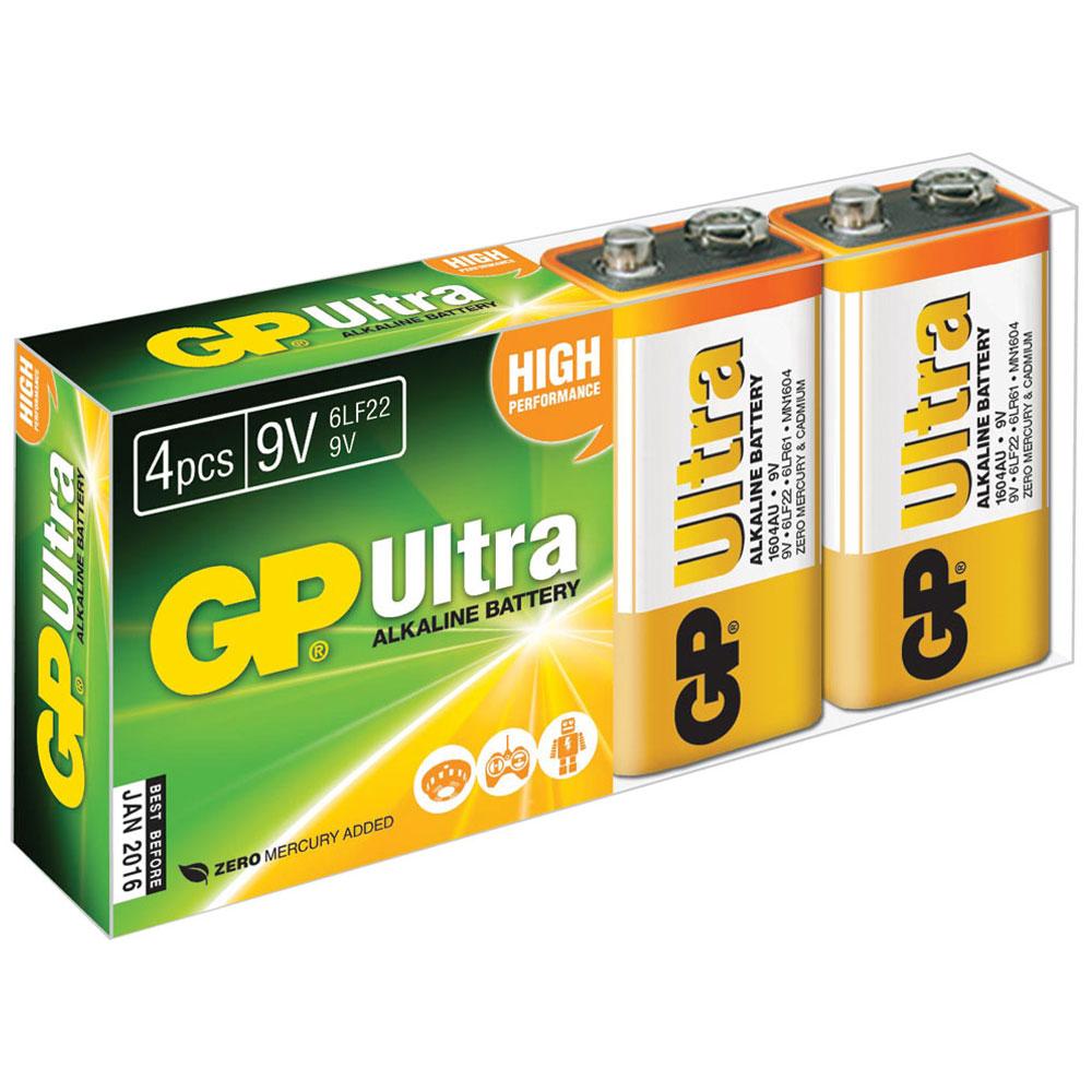 PP3 4pk Ultra alkaline batteries in easy store UPVC Box