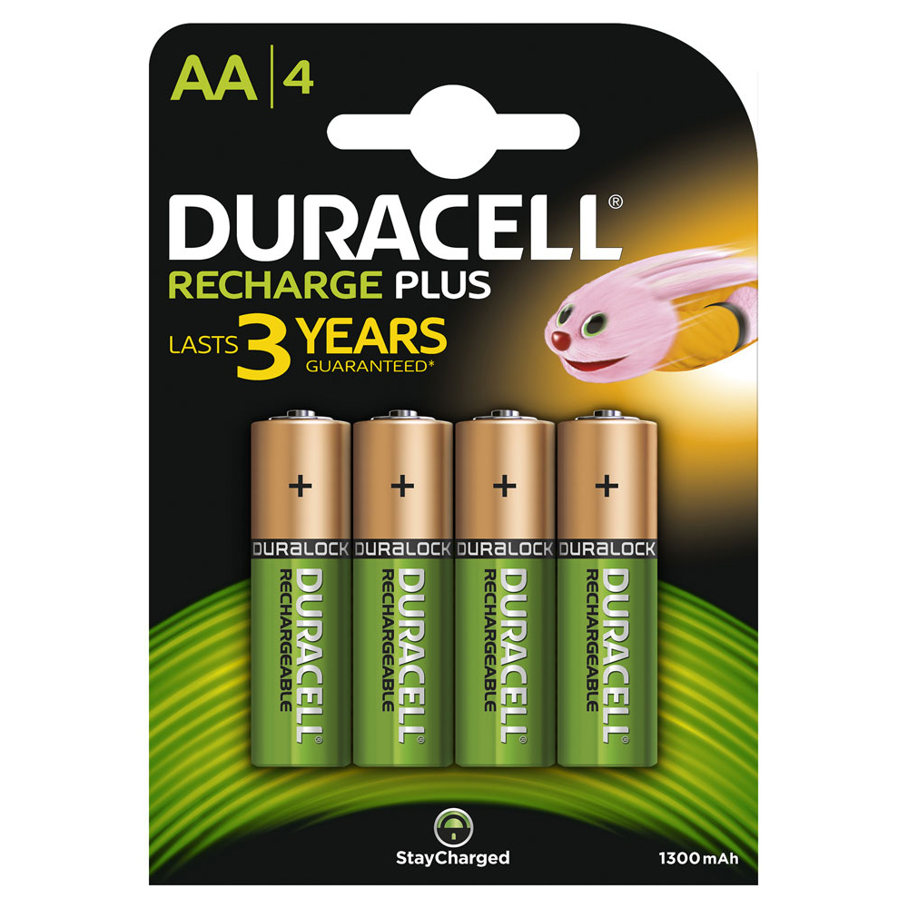 Duracell 4 x AA 1300mAH NiMH Plus Rechargeable Batteries