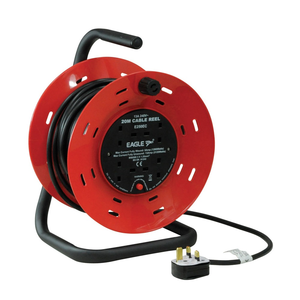 Red/Black 4 Gang 20 m Extension Reeler with Stand, Carry Handle and Reset Button