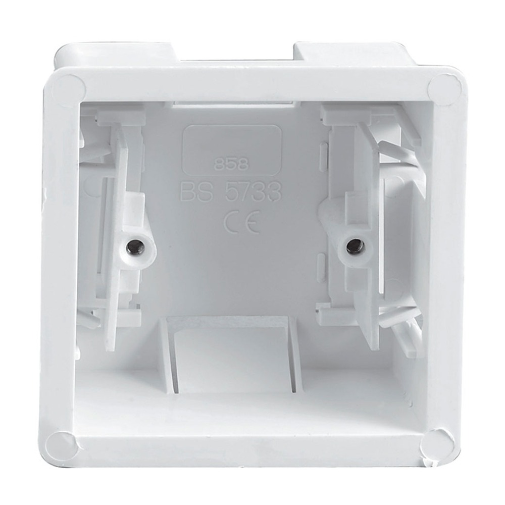 White Single Gang Clip In Dry Lining Socket Box