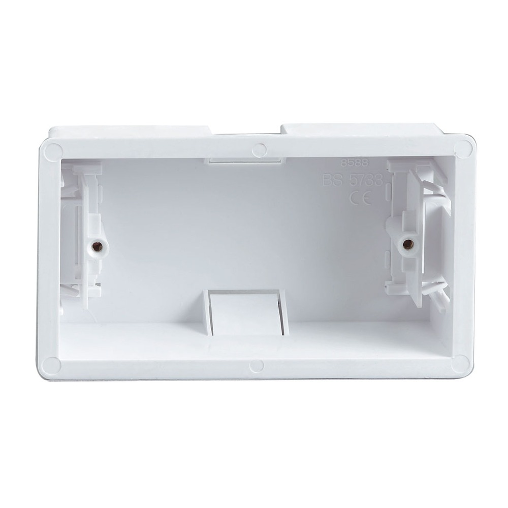 White 30 mm 2 Gang Clip In Dry Lining Box