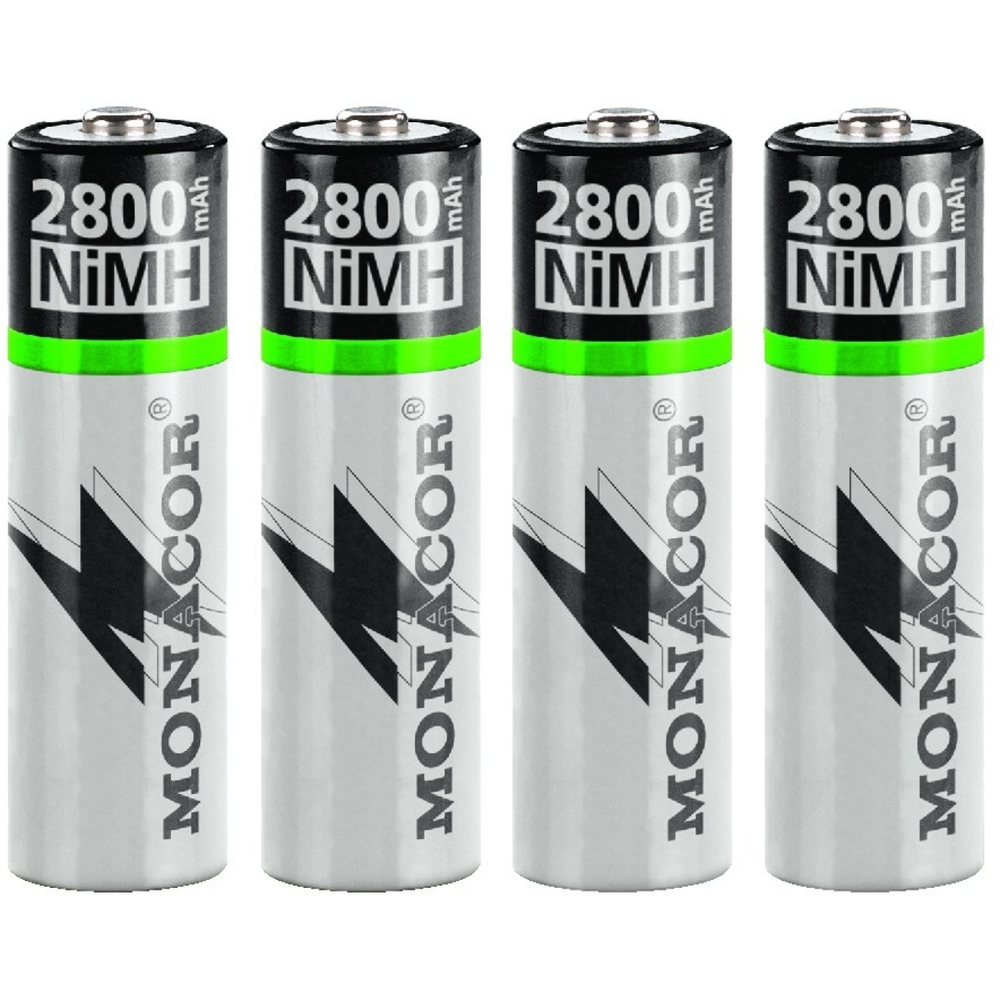 2800mAh AA NiMH rechargeable batteries, pack of 4
