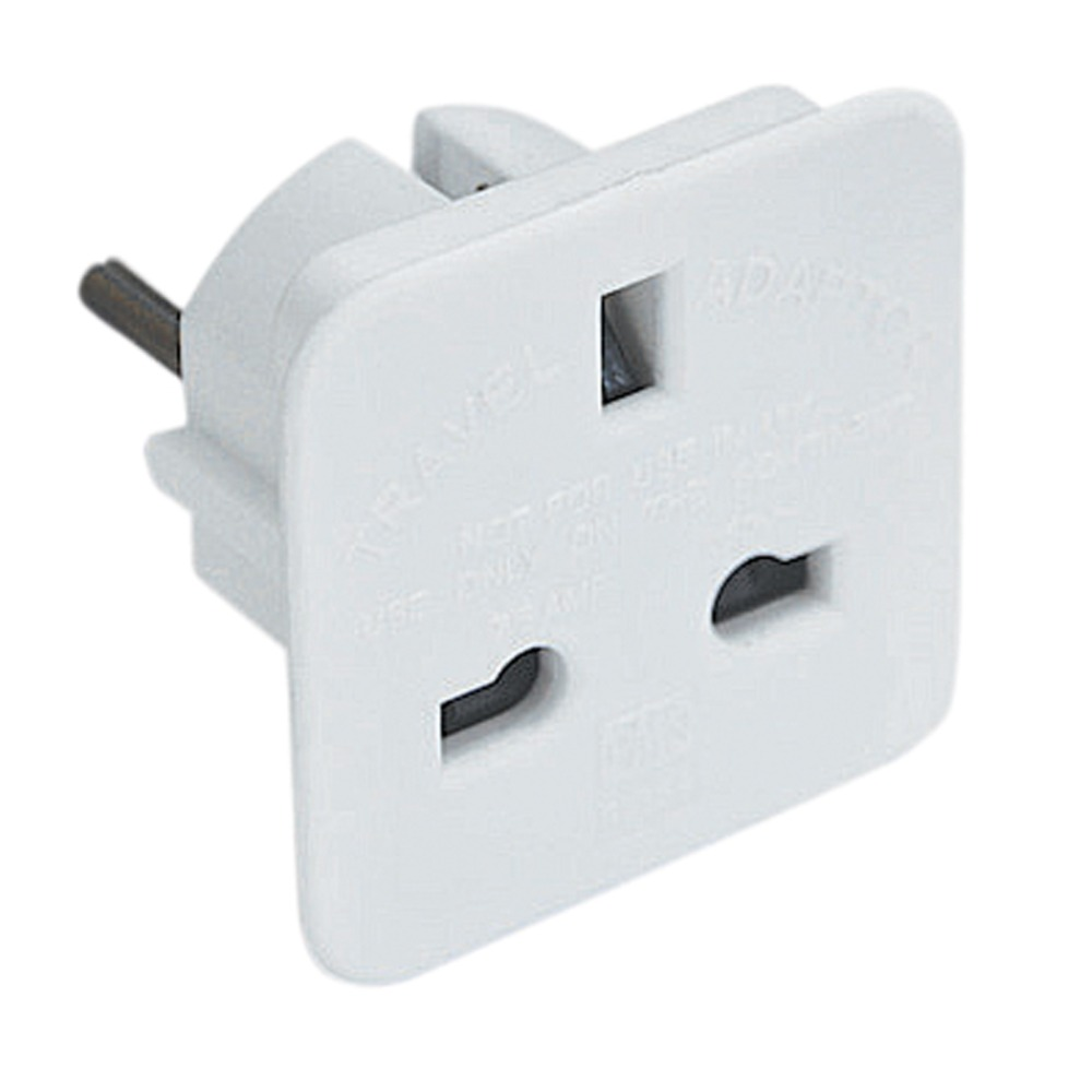 UK 3 pin socket to 2 pin european plug 7.5A - white