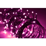 Pink outdoor battery powered 80 LED light string with timer