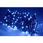 Blue outdoor battery powered 160 LED light string with timer