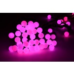 Bauble string light of 50 pink LED lights, can be extended up to 20 sets from one mains plug