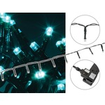 Mains powered Cyan 100 LED string Christmas, fairy or party lights with 8 pre-programmed sequences allowing you to adjust the mode to your preference via the included controller.