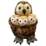 Tawny Owl with 3 Owl Babies Finger Puppet Hide Away Set
