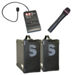 For audiences of approx 300 people: 2 Compact4 rechargeable 40 watt speaker/amplifier with one handheld and one collarworn radio microphone