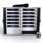 Twelve Trantec S5.5 radio microphone systems with ADU & PSU all in a Racked and Ready Flight Case with a remote antenna...