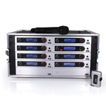 Eight Trantec S5.5 radio microphone systems with ADU & PSU all in a Racked and Ready Flight Case - 606-614MHz, channel...