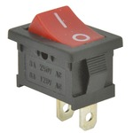 Red rocker switch - 1 x ON/OFF, 250Vac, 6A, 15.25 x 21.5 mm