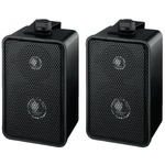 Pair of excellent sound black universal 2-way 40W 4 Ohm PA wall speakers - 150 x 95 x 82 mm