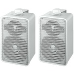 Pair of white universal 2-way 40W 4 Ohm PA wall speakers with integrate holder for wall mounting - 150 x 95 x 82 mm