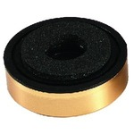 Speaker cabinet foot with gold-coloured decorative cover and dampening inserts - 35 x 11 mm diameter, 3.5mm mounting hole