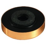Speaker cabinet foot with gold-coloured decorative cover and dampening inserts - 45 x 14 mm diameter, 4 mm mounting hole