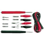 Combination multimeter test lead set with various adapters for versatile applications