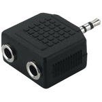1 x 2.5mm stereo plug to 2 x 3.5mm stereo inline jack sockets