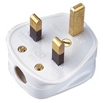 Good quality 3 pin uk plug in white with a 3A fuse.