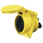 A high current angled outlet panel mount in yellow with 110V, 16A 3 contact plug.