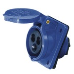 A 230 v, 16 a high current angled outlet panel mount, 3 contact, in blue.