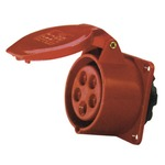 A 400 V red 16 A high current 5 contact straight outlet panel mount with hinged flap.