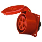 A 400 v, red, high current 32 a straight outlet 5 contact panel mount.