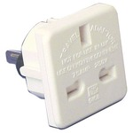 A white travel adaptor which converts standard uk to Australian/USA