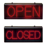 A super bright static red led sign with wall hanging kit, suitable for indoor use only. psu supplied.