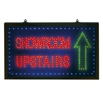 A super bright led 'showroom upstairs' sign with flashing function, supplied with a psu and wall hanging kit.