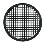 Black speaker grill with square perforation and rubber rim - 206mm outside diameter