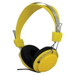 Yellow headphones with a single-sided cable, they're ideal for music on the move. compatible with smartphones, tablets and mp3 players, as well as computers and games consoles.