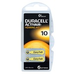 Pack of six size 10 YELLOW Duracell Activair EasyTab high power Zinc Air hearing aid batteries. 0%Hg - mercury free.