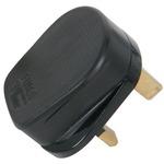 Rubber UK mains plug, 13A fuse, black