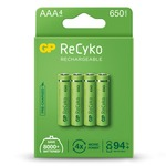 Pack of 4 AAA size ReCyko+ pre-charged NiMH 650mA capacity Rechargeable Batteries