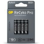 GP ReCyKo+ Pro Rechargheable AAA Batteries 800mAh (Card of 4)