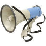 25 Watt durable megaphone with siren, adjustable shoulder strap and cigarette lighter power cable