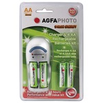 Agfaphoto Economy Overnight Battery Charger - Supplied with 4xAA 800mAH Batteries