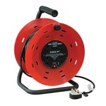 Red/Black 4 Gang 40 m Extension Reeler with Stand, Carry Handle and Reset Button
