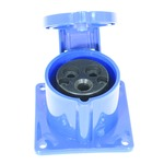 A 230 v, 16 a, high current straight outlet panel mount, 3 contact, in blue with hinged flap.