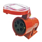 A 400 V red high current, 16 A, angled outlet 5 contact wall mount with hinged flap.