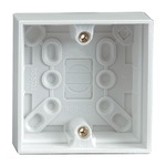 White 30 mm Single Gang Surface Box. Bulk