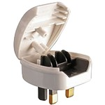 White 3A Euro Converter Plug 2 Pin VDE to UK 3 Pin plug