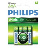 Blister of 4 AAA 1000 mAh Philips NiMH Rechargeable Batteries