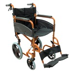 Compact Orange Transport Aluminium Wheelchair