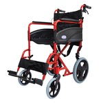 Compact Red Transport Aluminium Wheelchair