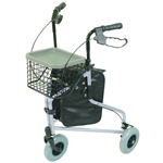 Silver Lightweight Tri Walker with Bag and Basket