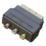 Scart i/p Adaptor with Scart Plug and 3 Phono Sockets